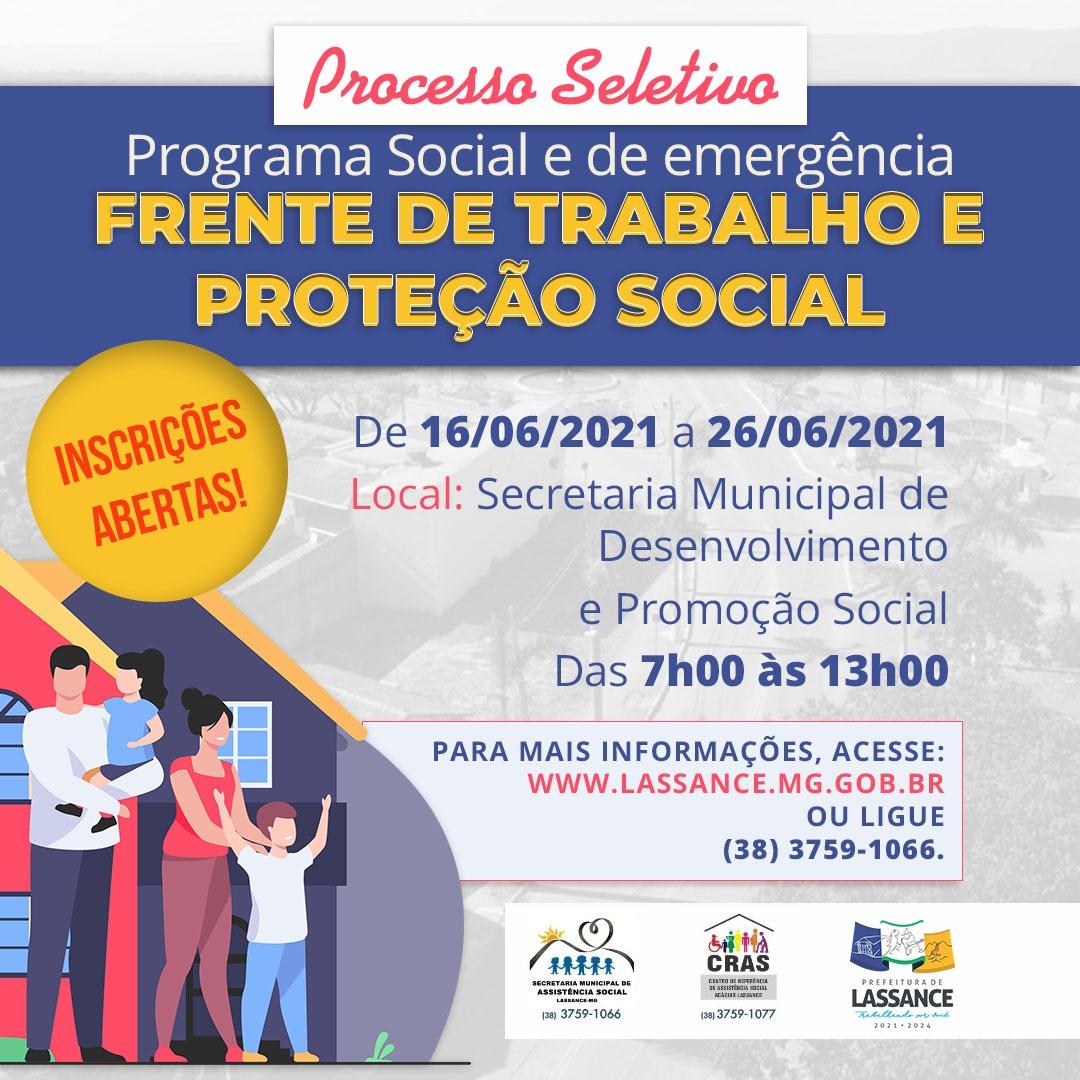 Processo Seletivo de Programa Social para FRENTE DE TRABALHO E PROTEÇÃO SOCIAL